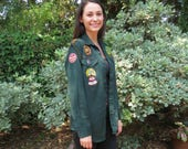 Mid-Century Boy Scout Shirt with Braid, Badges and Pins, Menlo Park, CA, Troop 223,  Neck 15 Regular, Knights of Dunamis Card,