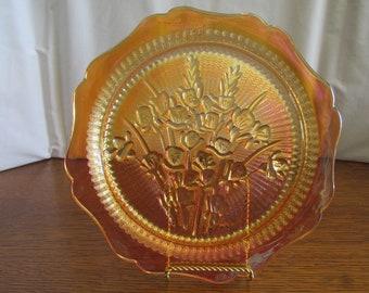 Vintage Marigold Carnival Glass Plate