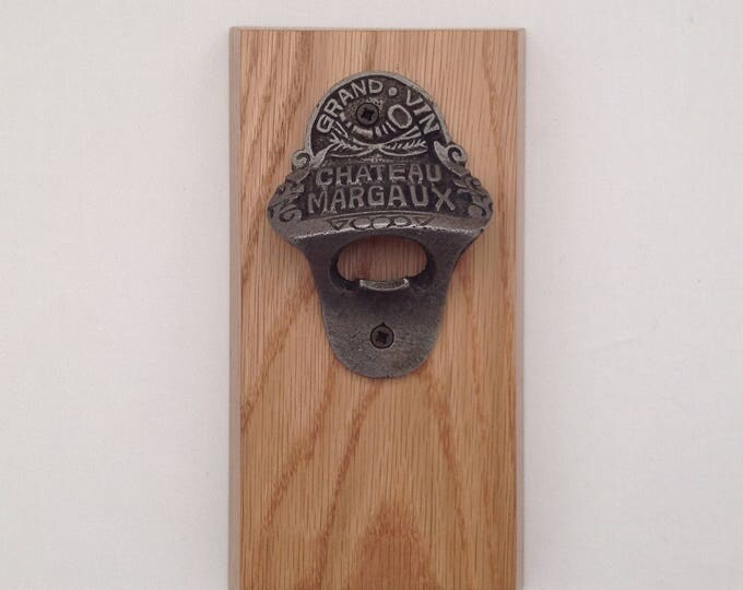 Wall mounted  cast iron Chateau Margaux Bottle opener on Oak Plaque