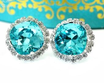 Stud Earrings Blue Earrings Gift for Her Anniversary Gift Matron of Honor Gift Bridesmaid Gift Wedding Earrings Swarovski Earrings TQ50S