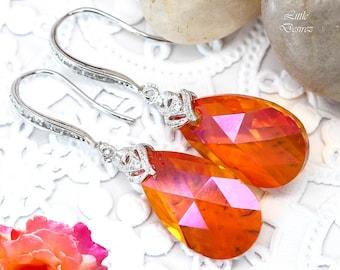 Orange and Pink Earrings Swarovski Astral Pink Crystal Earrings Bridesmaid Earrings Orange Fuchsia Sterling Silver Hypoallergenic AP32H