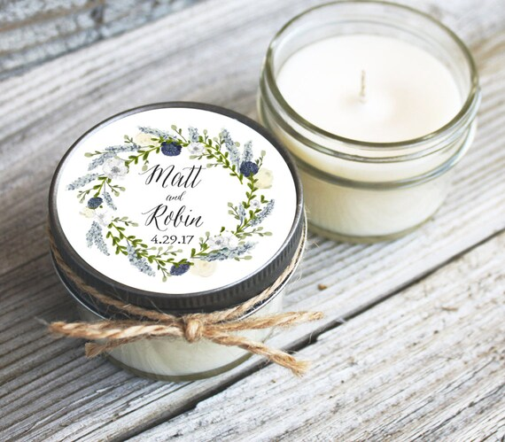 12 - 4 oz Wedding Favor//Floral Wreath Favor//Soy Candle Favor//Personalized Bridal Shower Favor//Shower Favor//Wedding//Candle Favors