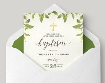 Printable Boy Baptism Invitation \ Christening Invitation (CH68)