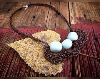 15% OFF SALE Handwoven Brown Leather Amazonite Gemstone Statement Necklace Bib Necklace Boho Bohemian Fall Jewelry