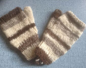 British Hand Spun Hand Knit Fingerless Gloves/Mitts - Medium - Jacob Sheep Wool
