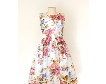 AUGUST 20 % OFF Floral Cotton Dress, White Floral Dress, Made to Order Dress, Fit and Flare dress, 50's dress