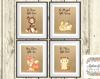 BOY FOREST Wall Art, Boy WOODLAND Wall Art, Bear Bunny Fox Owl, Brave Playful Clever Wise, Digital Printable, Instant Download