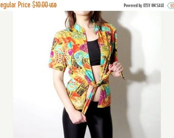 SALE Vintage Top /  Colorful Top / Wrap Top / Summer Top / Abstrack Blouse / Abstract Top / Woman Top / Beach Top / Blouse Size 34 / Small T