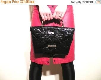 SALE Vintage Marzia Original Black Faux Patent Leather Bag