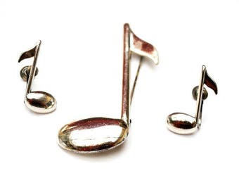 Sterling Music Note Brooch and Earring set - Signed Beau -Silver figurine pin -Screw back earrings