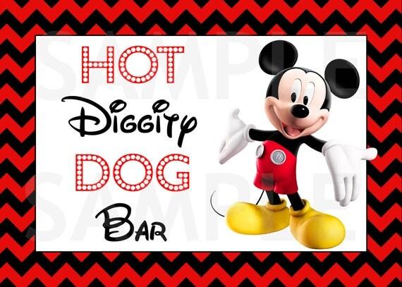 Mickey Mouse Hot Diggity Hot Dog Bar Sign