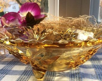 Anchor Hocking Prescut Amber Bon Bon Footed Dish Bowl
