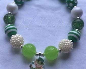 St Patricks Day Chunky Bubblegum Bead Necklace