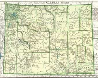 Vintage Wyoming Map Etsy - Wyoming map