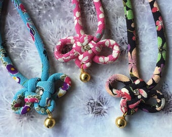 Fabric cord cat collar with a bell /japanese chirimen cord knot / blue-pink-black