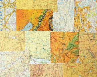 World map journal vintage etsy uk yelloworange vintage world map atlas paper ephemera pack collage scrapbooking mixed gumiabroncs Gallery