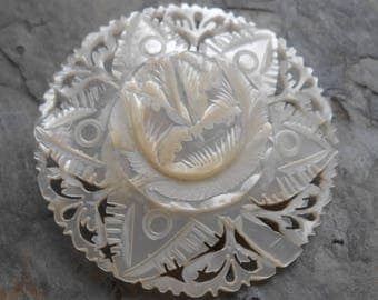 Carved Mother of Pearl Floral Brooch