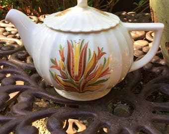 Limoges Jamaica Tea/Coffee Pot-Ivory with Red Yellow Brown GreenLeaves