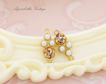 Petite White Pearl & Peach Swarovski Rhinestones Round Stones in Brass 2 ring Connector Settings 15x6mm - 2