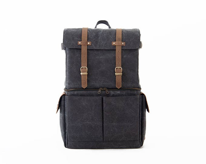 JOURNEYMAN Camera Laptop Backpack / Gray Canvas