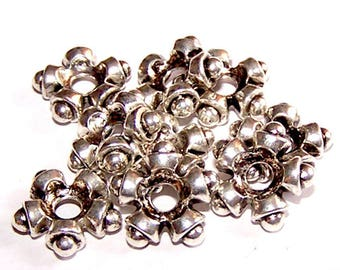 Star 10 beads 11 mm silver metal (tibetan silver) for jewelry making