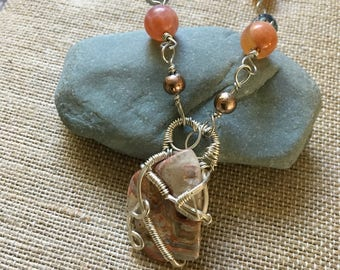 Silver wire wrapped necklace