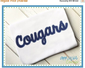 50% Off INSTANT DOWNLOAD 3187 Cougars Script applique digital design for embroidery machine by Applique Corner