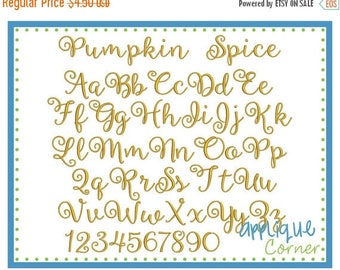 50% Off INSTANT DOWLOAD 2450 Pumpkin Spice Font bx, jef, dst and pes only digital design for embroidery machine by Applique Corner