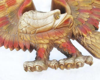 """Giant Red and Gold Eagle - 3-D Molded Wall Art - Above a Door - On a Wall -  41"""" Wingspan Crouching Eagle - Burwood Product"""
