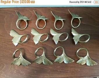 SALE - 12 Brass Ginkgo Leaf Napkin Rings