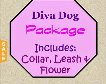 Puppy Love Sale - 40% Off Collar, Leash and Flower Package!, Dog Flower Set - Available in all Dog Collar Listings - Fabric nam