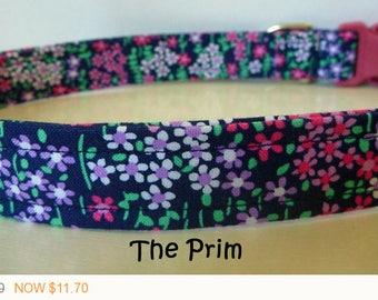 "Puppy Love Sale - 40% Off Floral Dog Collar - Pretty Delicate Floral Collar- ""Prim"" - Free Colored Buckles"