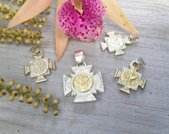 Holy spirit pendant. Sterling and gold.