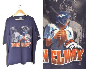 90s John Elway Shirt Denver Broncos Navy Blue Football Tee Starter XL