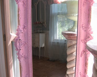 shabby chic PRETTY pink and gold mirror