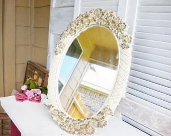 Vintage Brocante Vanity Mirror On A Stand/Ornate Syroco Mirror/Wall Mirror/Hollywood Glam Vanity Mirror/Vintage Wedding/Estate/Cream,Gold