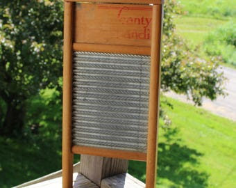 scanty handi wood and zinc washboard - great graphic 18 inch long x 8 3/4 inch wide-excellent condition lingerie washboard 1920's or earlier
