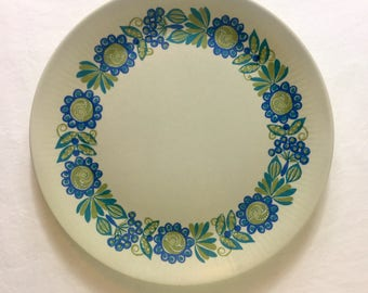 "Figgio Flint/Turi Design/Dinner Plate/Tor Viking Plate/Blue & Green Floral/Made in Norway/Mid Century Modern/Sixties Scandinavian/10.5"" Diam"