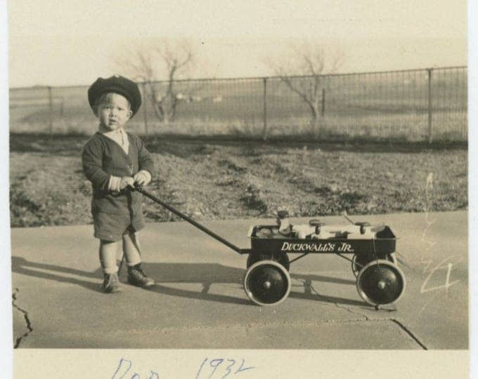 Vintage Snapshot Photo: Donnie, with Toy Wagon, 1932 (711620)