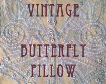 Rare Vintage LACE BUTTEFLY PILLOW