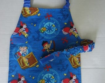 Jake and The Pirates print Apron.  Fully lined. Ready to ship. Age 3-6 approx