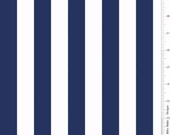 One Inch Stripe Navy: Riley Blake Designs 1 Yard Cut
