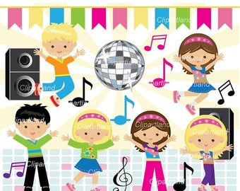 ON SALE INSTANT Download. Cdan_3_Dance_party. Girl and boy dance party clipart. Personal and commercial use.