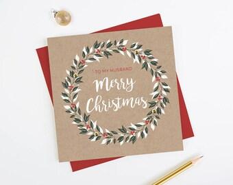 Husband Christmas Card Wreath Kraft