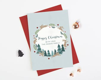 Personalised Christmas Card Rabbit Tree Wreath - Personalised Holiday Cards