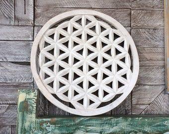 Flower of life hand carved in teak wood 39cm sacred geometry mandala yoga decor