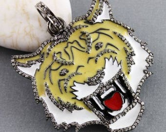 Pave Diamond Pendant, Pave Diamond Enamel Lion Pendant, Designer Enamel Pendant, Enamel Lion Pendant, Lion Pendant, (DP-1496)