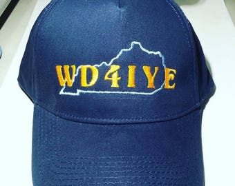 HAM RADIO Hat  -  Custom Embroidered with STATE and Callsign - H14
