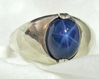 10x8 Blue Star Sapphire Men's Ring Lab Solid 925 Sterling Silver Size 9 or 10