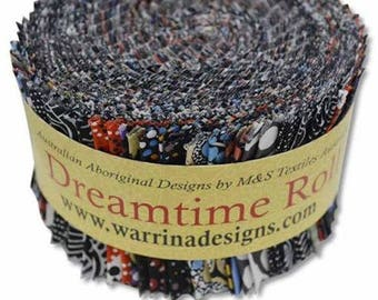 M & S Textiles, Aboriginal Prints, Dreamtime Jelly Roll Fabric Pack, Black